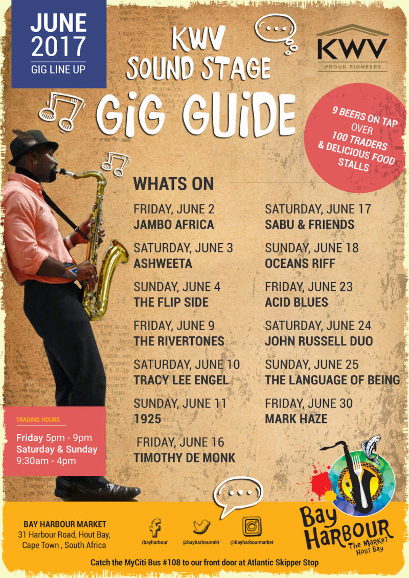 Hout Bay Harbour Market Gig Guide June 2017