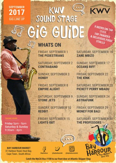 september gig guide - bay harbour market hout bay