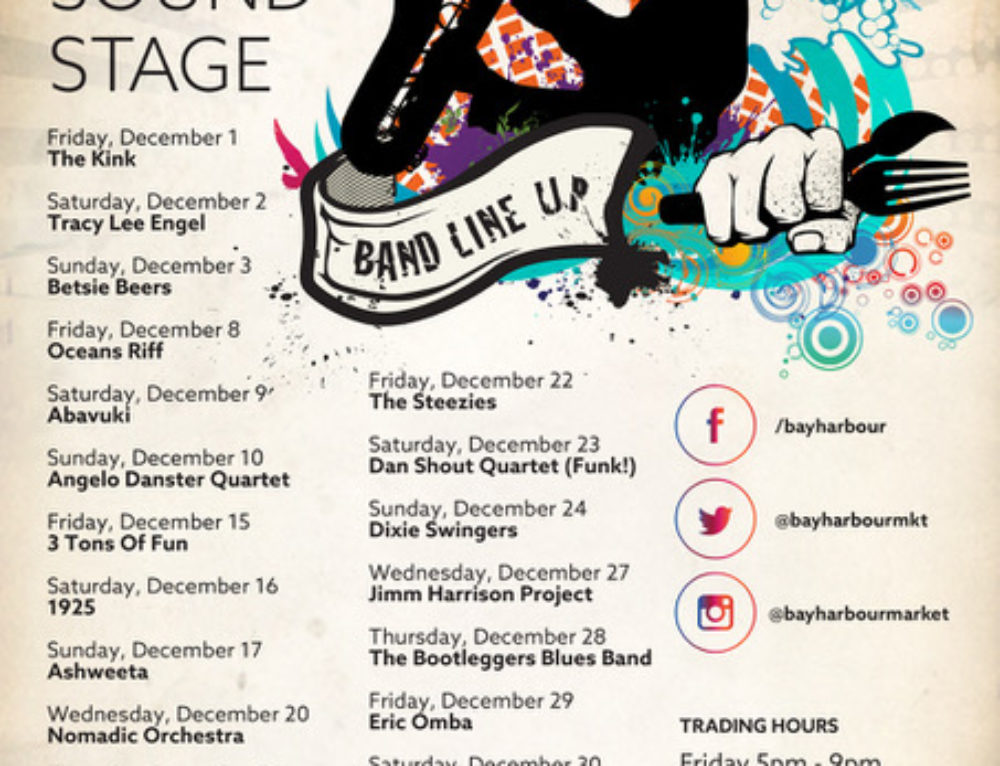 The December Gig Guide at the Bay Harbour Market
